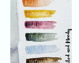 """Handmade watercolors_ """"Muted and Moody""""_ 2021 limited edition collection"""
