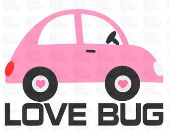Valentines Love Bug Car SVG DXF Digital File