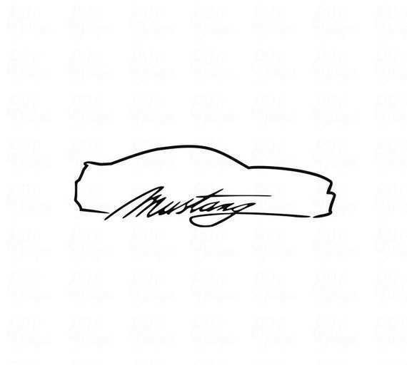 2011 2014 ford mustang outline svg dxf cut file etsy - Ford mustang logo outline ...