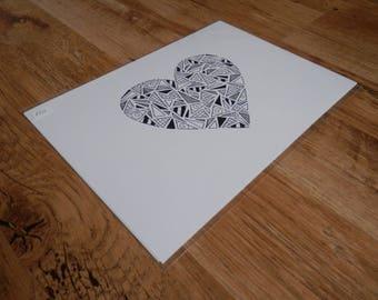 Black & White - A4 Original Love Heart Illustration