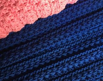 Pink, Royal Blue or black cotton tassel trim.