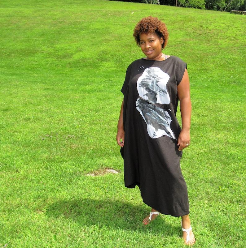 Black Linen Maxi Ravens Dress Black Friday Sale