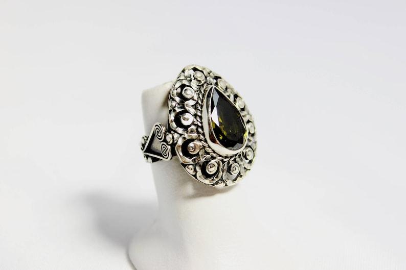 bridal pendant Christmas present Frida Kahlo  adjustable ring,silver pendant,green zirconia vintage Valentine\u2019s Day,Mother\u2019s Day present