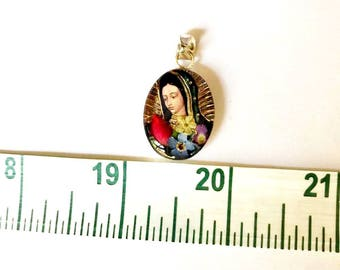 VIRGIN MARY PENDANT, virgin mary, silver, pendant, gift, mother, flowers, colorful, small, .925 ley silver, sterling silver, real flowers.