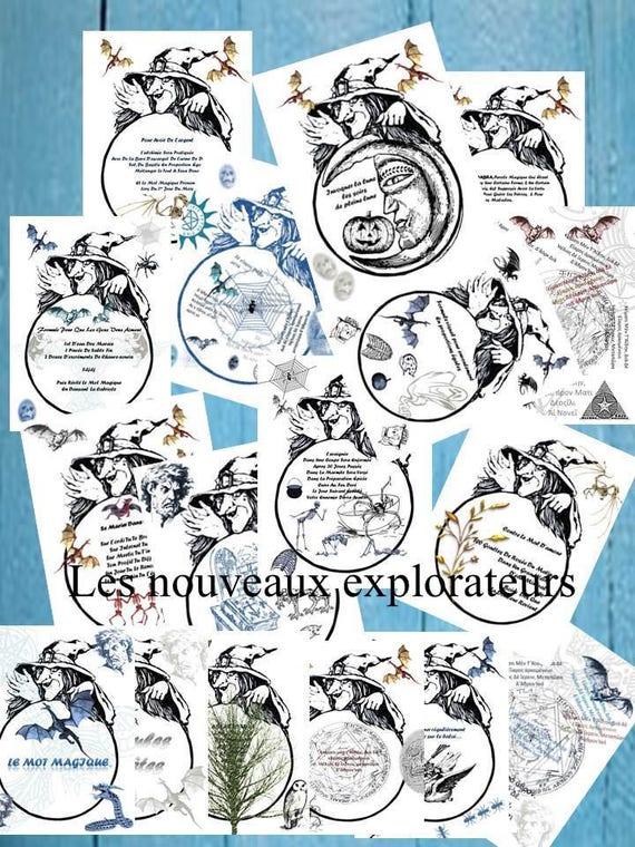 Grimoire Halloween Page De Grimoire A Imprimer Page De Livre Sorciere Halloween Fiches Pour Reliure Grimoire De Magie