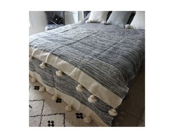 Cream Moroccan blanket striped grey organic 50% wool and 50 percent cotton high quality; Beige tassels on each side