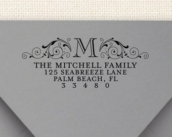 Mitchell Pre-Inked Return Address Stamp - Self Inking Address Stamp - Monogram Address Stamp - Wedding Stamp with Initial - New Home Gift