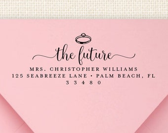 future mrs return address stamp pre inked address stamper personalized engagement address stamp self inking bridal shower stamp