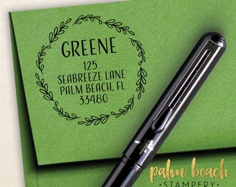"Greene Pre-Inked Round Return Address Stamp - Self Inking Address Stamper - Personalized Stamp w/ Leaf Border - New Home Gift - 1.5"" Circle"