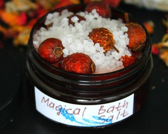 Magical Floral Bath Salt - Herbal Bath Salt, Rosehips Herb, Utah Salt, Solar Sea Salt,Antioxidant, 2 oz Bath Salt, Gift For Her,Reiki Gift