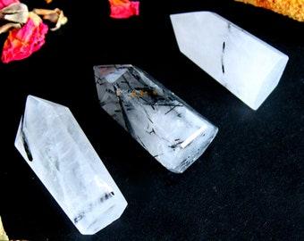 ONE Tourmalinated Quartz Crystal Point - Chakra Healing Crystal, Gift For Her, Rutilated Quartz, Black Tourmaline, Reiki, Yoga Crystal, P37