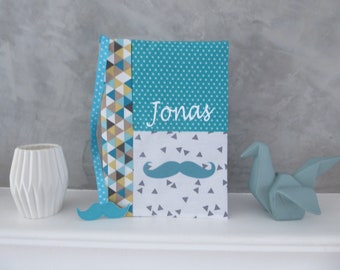 Health Book personalized mustache, white, gray and turquoise fabric