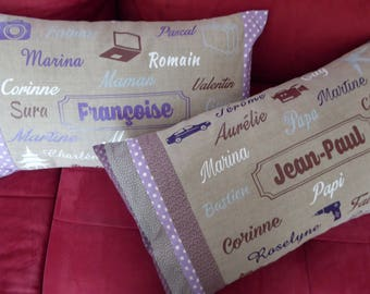 Personalized pillow 40 x 60 cm with first names, words to your liking and fabrics to choose