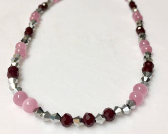 Pink Cats Eye and Brown Glass Necklace