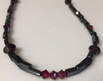 Purple and Maroon Swarvoski and Hematite Necklace