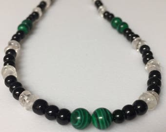 Rose Quartz and Malachite Necklace