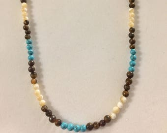 Reconstructed Turquoise, Natural Mother of Pearl and Tigerseye Necklace