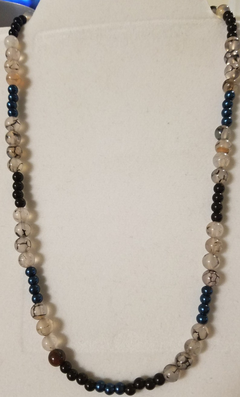 Rutilated Agate and Black Onyx Necklace