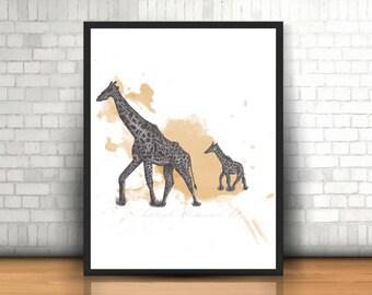 Giraffe Art Print   Giraffe Wall Prints   Giraffe Art   Giraffe Print   Giraffe Gift   Animal Prints   Giclee Prints   Prints   Giraffe