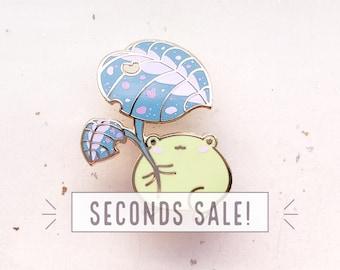 SECONDS SALE Frog Leaf Umbrella Enamel Pin