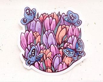 Tulips and Butterflies Clear Vinyl Sticker