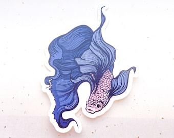 Betta Fish Clear Vinyl Sticker