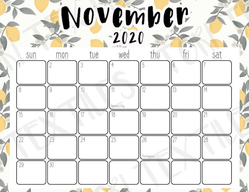 November 2020 Printable Calendar Lemon Pattern | Etsy