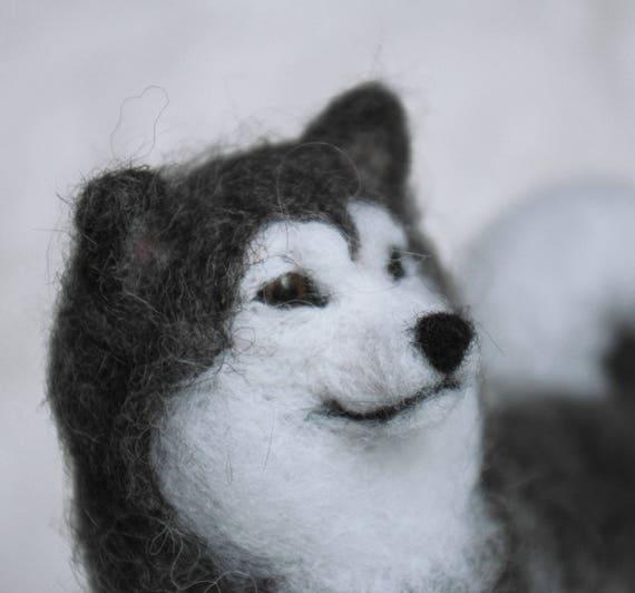 Alaskan Malamute Stuffed Wool Dog Felted Miniature Dog Statue Etsy