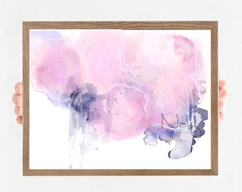 Abstract pink illustration watercolor flowers Illustration for minimalist décor