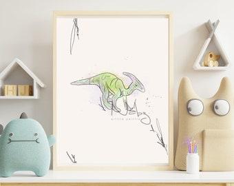 Illustration dinosaurs parasaurolophus child room displays minimalist dinosaur watercolor digital color sand green lilac