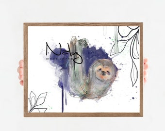 Lazy blue watercolor graphic illustration Minimalist lazy illustration for children's room