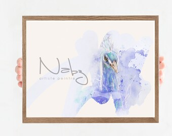 pictured abstract peacock watercolor illustration floral peacock geometric
