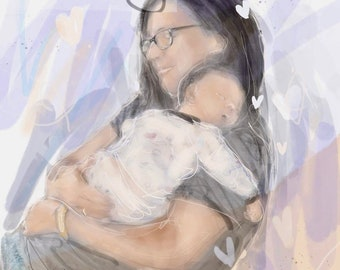 custom digital watercolor illustration family mom baby animals portrait custom art according to your photos displays custom cartoon