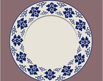121 Blue and White Plate