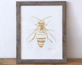 screen printed pixelated gold bee print