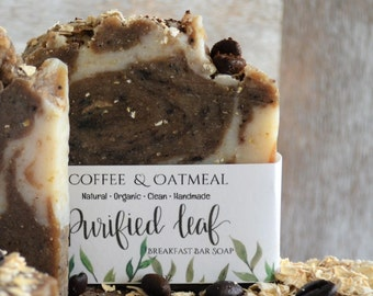 Coffee & Oatmeal, Breakfast Soap Bar, Organic Soap, handmade soap, soap bar, oatmeal soap, coffee soap, Fragrance Free, Essential Oil Free