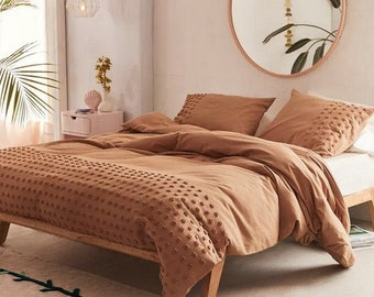 3 Piece Tufted Cotton Duvet Cover set, Boho Bedding Queen, King comforter Cover With Pillowcases, Cinnamon Duvet Cover, Duvet Bedding Set
