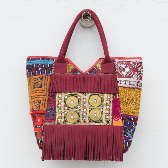 d4651e2fa7 Hippie Indian Bag Fringe Tote Bag Boho Shoulder Bag For