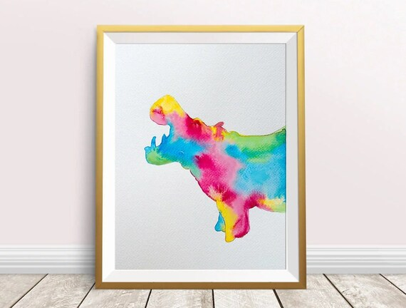 Hippo Watercolor PrintHippo Art Printnursery | Etsy