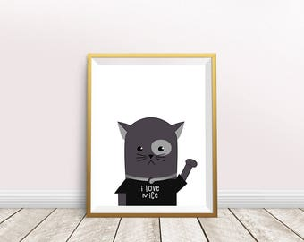Cat Print,cat art,i love mice,cat wall art,Cat Poster,printable art,nursery decor,cat photo,instant download,Painting Cat,Cat Lover Gift
