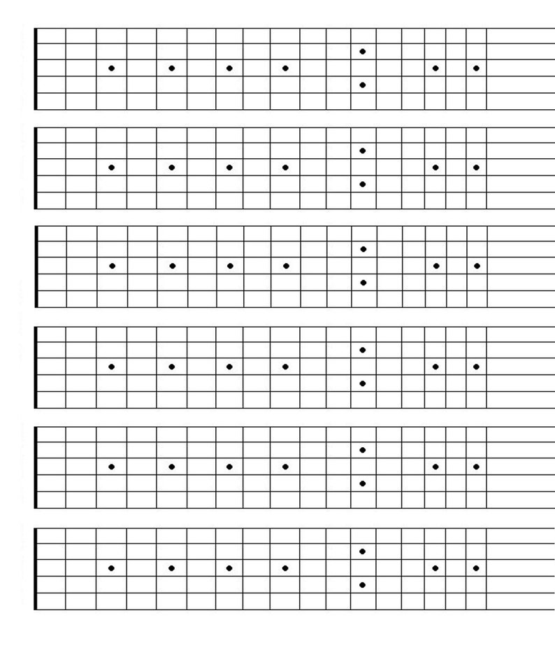 picture relating to Printable Fretboard named Printable Blank Guitar Fretboard, Guitar Neck Chart, Quick Obtain, songwriting device, Studying Guitar
