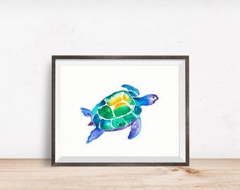 Sea turtle, turtle, watercolor art print, animal print, home decor, watercolor turtle, animal art, turtle art, ocean art, sea print
