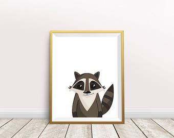 Raccoon art print,Raccoon Print,Raccoon Art,home Wall decor,nursery decor,Gift poster,Animal Prints, instant download,Forest Animal