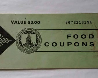 Series 1973 Food Stamp Coupon Book, (3) 50 Cents B67221319A, USDA, Welfare