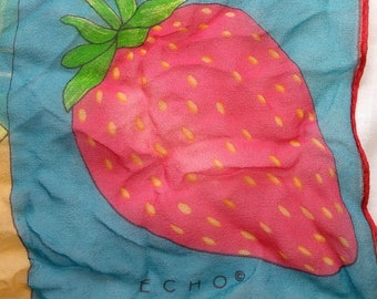 Vintage Echo Sheer Fruit Scarf, Strawberry Kiwi Grapes Apple