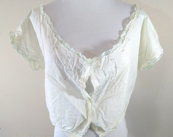 Antique Edwardian Victorian Embroidered Eyelet Lace Trim Corset Cover Camisole, Underwear, Undergarment, Top, Early 1900s, 1800s
