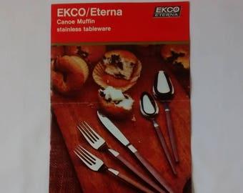 Vintage Ekco Eterna Canoe Muffin Flatware Sales Advertising Brochure, Ephemera, MCM, Dealer Booklet
