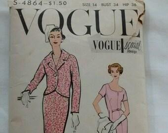 Vintage Vogue Special Design Dress & Jacket Pattern S-4864, Size 14, 1950s