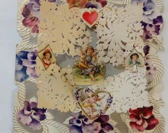 Antique Victorian Diecut Pop-up Valentine Greeting Card, Cherub, Pansies, Lily of the Valley, c. Late 1800s Early 1900s, Love