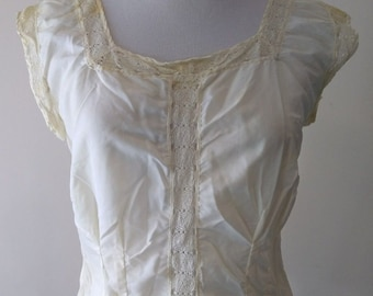 Antique Edwardian Victorian Lace Satin Corset Cover Camisole, Underwear, Undergarment, Top, Early 1900s, 1800s